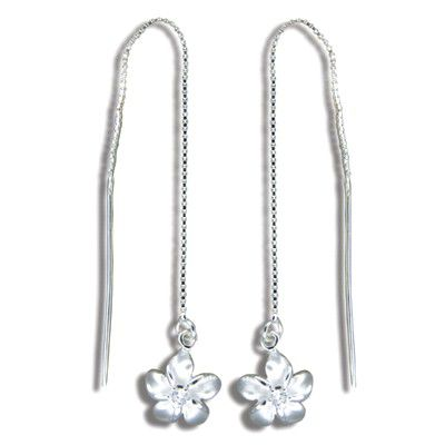 Sterling Silver White Sand Hawaiian Plumeria with Clear CZ Long Chain Earrings