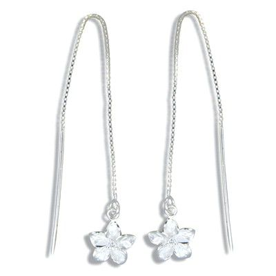 Sterling Silver White Sand Elegant Hawaiian Plumeria with Clear CZ Long Chain Earrings