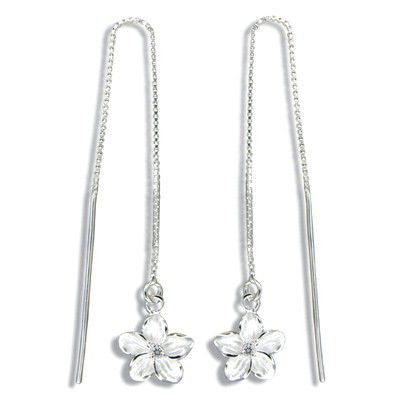 Sterling Silver White Sand Fancy Hawaiian Plumeria with Clear CZ Long Chain Earrings