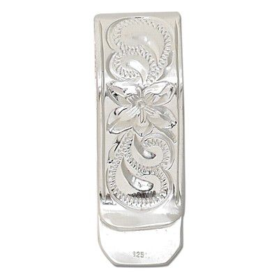 Sterling Silver Hawaiian Plumeria and Scroll Design Money Clip