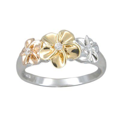 Sterling Silver Hawaiian Tri-color Plumeria Ring