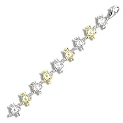 Sterling Silver Hawaiian Open Two Tone HONU Anklet