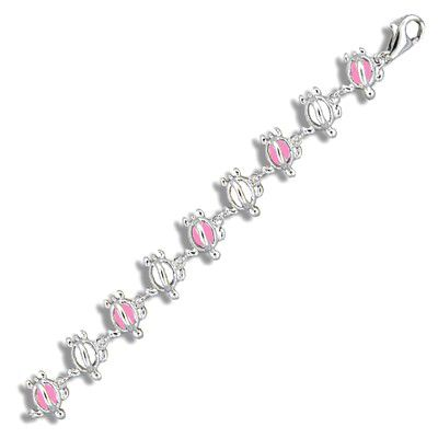Sterling Silver Hawaiian Open Pink Epoxy HONU Anklet