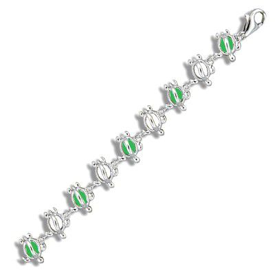 Sterling Silver Hawaiian Open Green Epoxy HONU Anklet
