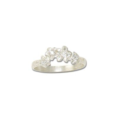 Sterling Silver Hawaiian Plumeria Leis Ring with CZ