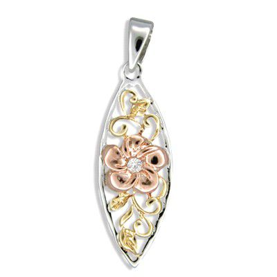 Sterling Silver Tri-color Plumeria Surf Board Pendant