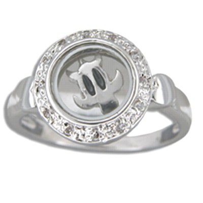 Sterling Silver Hawaiian Spinning HONU Ring with Clear CZ