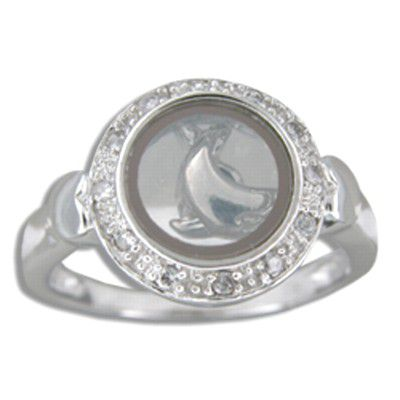 Sterling Silver Hawaiian Spinning Dolphin Ring with Clear CZ