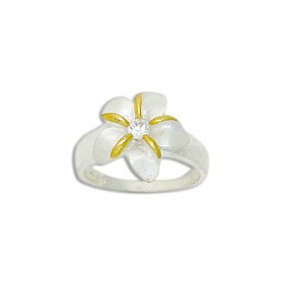 Sterling Silver 15MM Hawaiian Two Tone Plumeria with CZ Ring