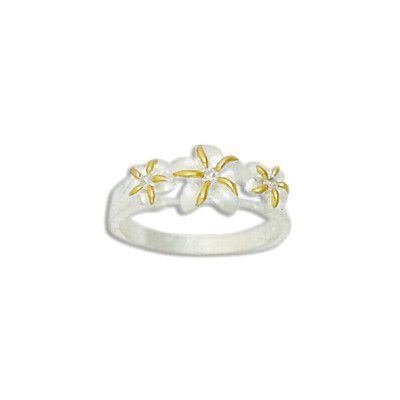 Sterling Silver Triple Two Tone Hawaiian Plumeria Flowers Ring with CZ