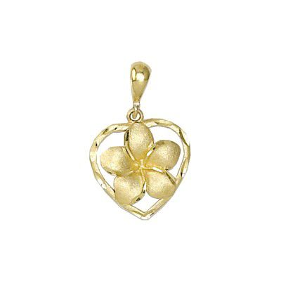 14Kt Gold Hawaiian 8mm Plumeria Heart Pendant