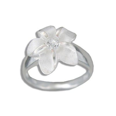 Sterling Silver 15MM Hawaiian Plumeria with CZ Ring