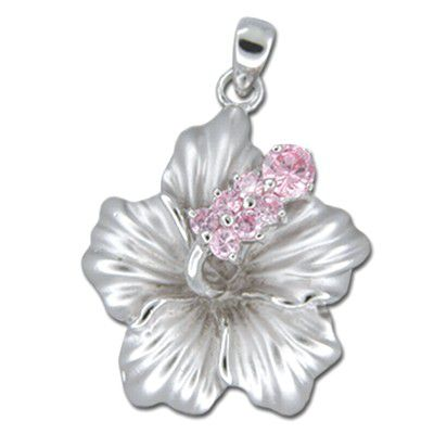 Sterling Silver Hawaiian Hibiscus Pink CZ Pendant