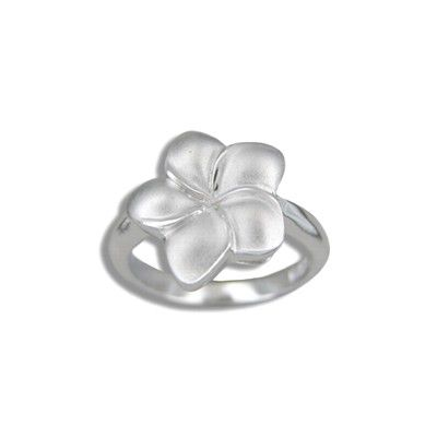 Sterling Silver 15MM Hawaiian Plumeria Ring