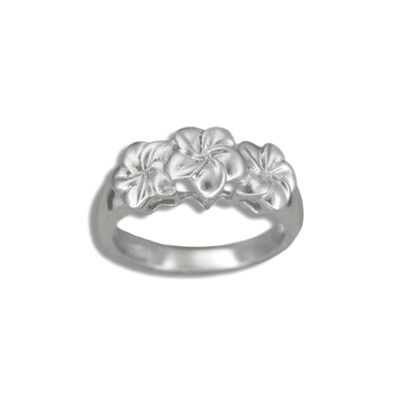 Sterling Silver Triple 8mm Hawaiian Plumeria Flowers Ring