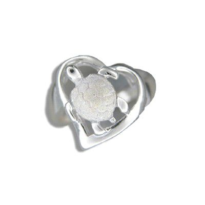 Sterling Silver Hawaiian HONU in Cut-Out Heart Shaped Ring