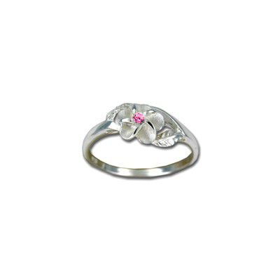 Sterling Silver 8MM Hawaiian Plumeria with Leaf Ring with Pink CZ