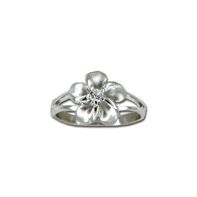Sterling Silver 12MM Hawaiian Plumeria Ring with Clear CZ