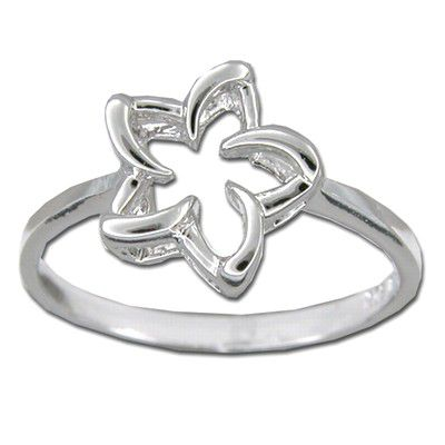 Sterling Silver 10MM Cut_Out Hawaiian Plumeria Ring