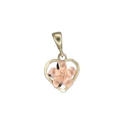 14kt  Two Tone Rose Gold Plumeria Heart Pendant