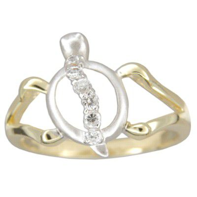 Sterling Silver Two Tone Cut-Out Hawaiian HONU Ring with Clear CZ