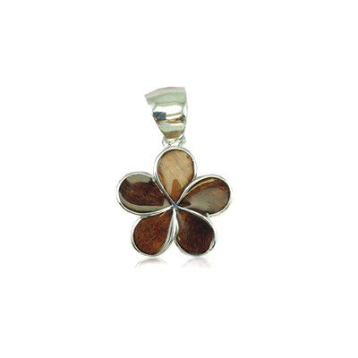 Sterling Silver Hawaiian Koa Wood 15MM Plumeria Design Pendant (S)