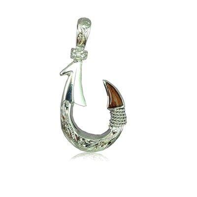 Sterling Silver Hawaiian Koa Wood Fish Hook with 2 Side Engraving Scroll Design Pendant (M)