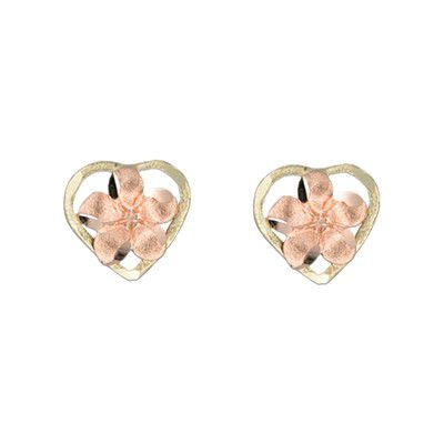 14kt Two Tone Gold Plumeria Heart Pierced Earrings