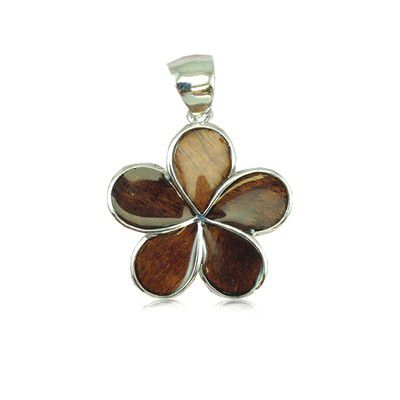 Sterling Silver Hawaiian Koa Wood 20MM Plumeria Design Pendant (M)