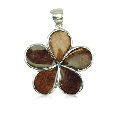 Sterling Silver Hawaiian Koa Wood 25MM Plumeria Design Pendant (L)