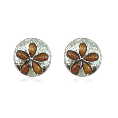 Sterling Silver 15MM Hawaiian Koa Wood Sand Dollar Shaped Plumeria Pierced Earrings