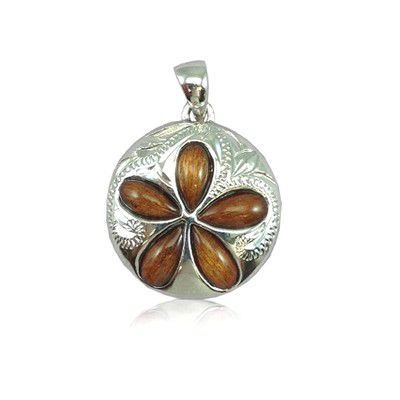 Sterling Silver Hawaiian Koa Wood 20MM Sand Dollar Shaped Plumeria Pendant