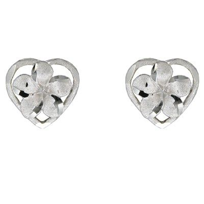 14kt White Gold Plumeria Heart Pierced Earrings