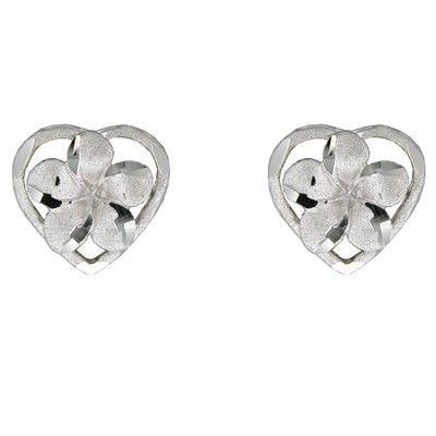 14kt White Gold Plumeria Heart Pierced Earrings