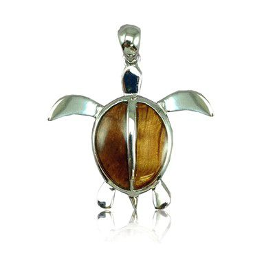 Sterling Silver Hawaiian Koa Wood Sea Turtle Pendant