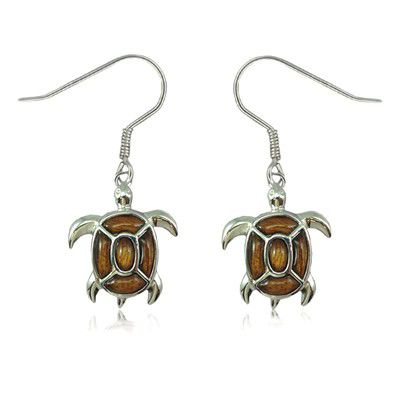 Sterling Silver Fancy Hawaiian Koa Wood Sea Turtle Fish Wire Earrings