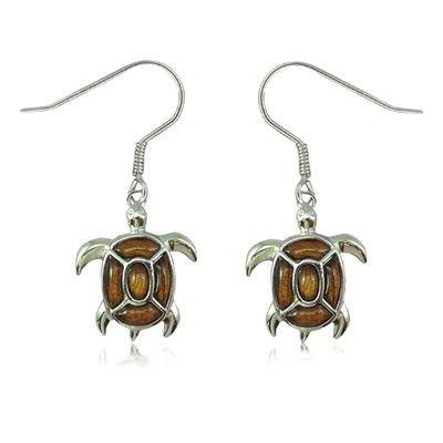 Sterling Silver Fancy Hawaiian Koa Wood Sea Turtle Fish Wire Earrings
