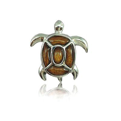 Sterling Silver Fancy Hawaiian Koa Wood Sea Turtle Pendant