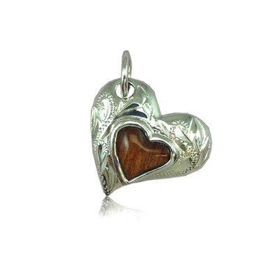 Sterling Silver Hawaiian Koa Wood Heart Shaped Pendant