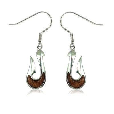 Sterling Silver Hawaiian Koa Wood Fish Hook Fish Wire Earrings