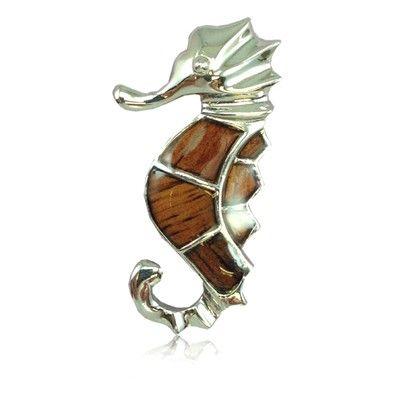 Sterling Silver Hawaiian Koa Wood Seahorse Pendant