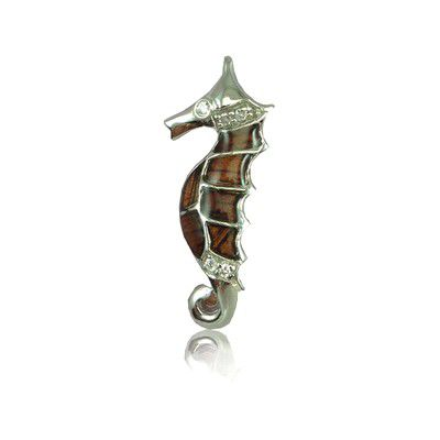 Sterling Silver Hawaiian Koa Wood Seahorse Pendant with Clear CZ