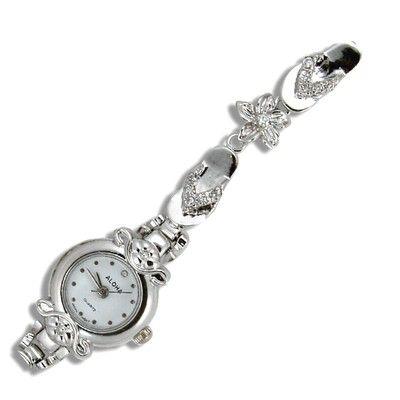 Sterling Silver Shinny Style Hawaiian Plumeria Flip Flop Watch