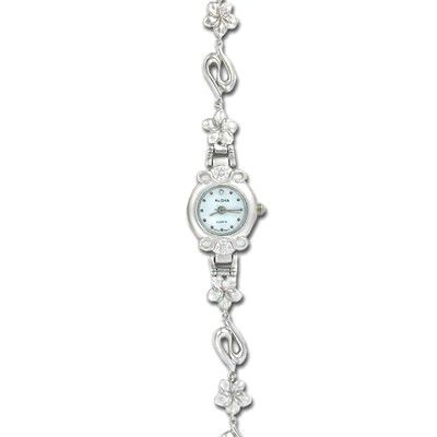 Sterling Silver Hawaiian Plumeria with Wave Design Watch