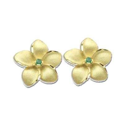 14K Yellow Gold 15mm Hawaiian Plumeria with Emerald Pierced Earrings