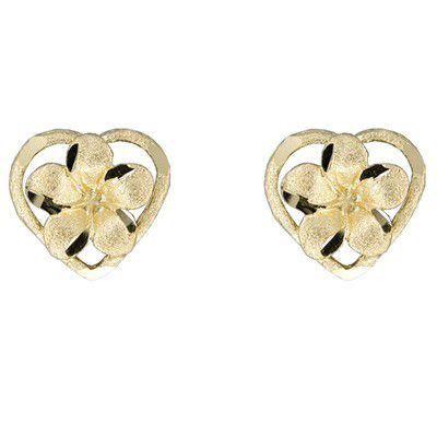 14kt Yellow Gold Plumeria Heart Pierced Earrings