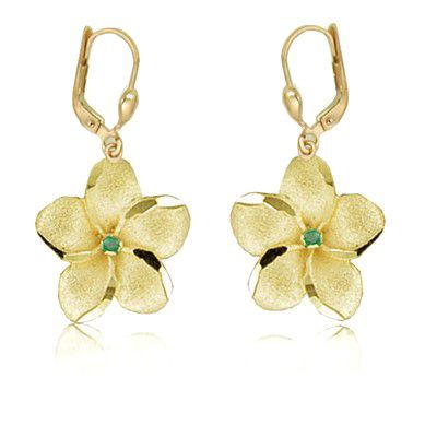 14K Yellow Gold 18mm Hawaiian Plumeria with Emerald Lever Back Earrings