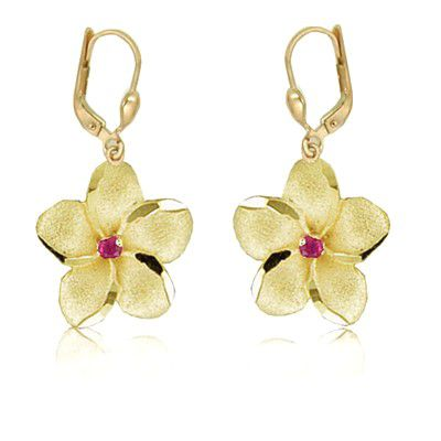 14K Yellow Gold 18mm Hawaiian Plumeria with Ruby Lever Back Earrings