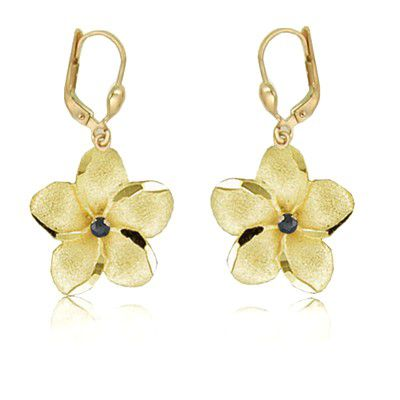 14K Yellow Gold 18mm Hawaiian Plumeria with Sapphire Lever Back Earrings