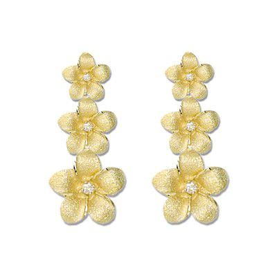 14kt Yellow Gold Triple Hawaiian Plumeria with Diamond Dangling Earrings
